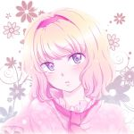 alice_margatroid bad_id blonde_hair blush capelet face flower gradient_hair hairband head_tilt multicolored_hair necktie open_mouth pink pink_eyes pink_hair short_hair solo touhou yuuyuu_(yuko)