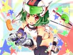 bent_over blue_hair blush cellphone chibi cosplay giantess green_hair helmet highres ichi_makoto macross macross_frontier macross_frontier:_itsuwari_no_utahime mecha mecha_musume miniboy no_nose open_mouth phone ponytail purple_hair ranka_lee red_eyes saotome_alto star thigh-highs thighhighs vf-25 vf-25_(cosplay)