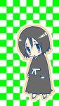 black_hair bleach blue_eyes blush checkered chibi frown male short_hair yamada_hanatarou