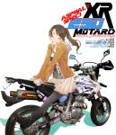 boots closed_eyes itasha legs motard motor_vehicle motorcycle original pantyhose ponytail sasetsu skirt smile solo supermoto vehicle