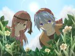 bandana blue_eyes blue_hair chrono_cross clouds couple female flower green_eyes kato_(pixiv346713) leena long_hair male plants redhead serge short_hair sky