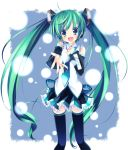 aaasld aqua_hair belt blue_eyes detached_sleeves hand_on_chest hatsune_miku necktie open_mouth outstretched_arm singing snow thigh_boots twintails vocaloid zettai_ryouiki