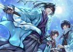 hakama hakuouki_shinsengumi_kitan haori headband hijikata_toshizou_(hakuouki) hijitaka_toshizou japanese_clothes kaga kimono male multiple_boys okita_souji_(hakuouki) saitou_hajime_(hakuouki)