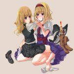 2girls alice_margatroid barefoot boots feet hug kirisame_marisa multiple_girls shanghai shanghai_doll shoes sock_pull socks touhou unasaka_ryou yuri