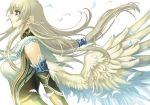 black_eyes blonde_hair breasts elbow_gloves feathers gloves large_breasts long_hair original ponytail profile ran'ou_(tamago_no_kimi) ranou solo wings