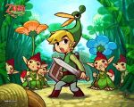 belt black_eyes blonde_hair boots covering_mouth ezlo flower foreshortening hat link looking_back miniboy minish_cap mushroom nintendo official_art open_mouth plant pointy_ears shield surprise surprised sword the_legend_of_zelda toon_link wallpaper watermark weapon