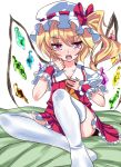 blonde_hair flandre_scarlet hat niwatori_gunsou ponytail red_eyes short_hair side_ponytail solo thigh-highs thighhighs touhou white_legwear white_thighhighs wings