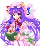 book buri crescent hat highres long_hair patchouli_knowledge purple_eyes purple_hair solo touhou