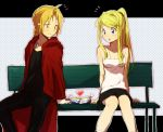 bench blonde_hair blue_eyes blush edward_elric fullmetal_alchemist heart polka_dot polka_dot_background ponytail riru sitting skirt winry_rockbell
