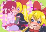 3girls aida_mana bat_print blonde_hair blue_eyes bow dokidoki!_precure dual_persona flipped_hair french_kiss hair_bow hairband half_updo heart imagining katou_techu kiss long_hair multiple_girls pantyhose pink_eyes pink_hair precure regina_(dokidoki!_precure) saliva shirt short_hair smile striped striped_shirt translation_request yuri