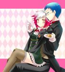 1girl argyle argyle_background bad_id blue_eyes blue_hair brown_legwear eating feeding glasses gloves hubert_ozwell multicolored_hair pascal pastry peperonchiino pink_background pink_hair short_hair sitting sitting_on_lap sitting_on_person spoon sweets tales_of_(series) tales_of_graces thighhighs two-tone_hair white_hair yellow_eyes