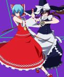 ayanami_rei blue_hair broom brown_hair cosplay detached_sleeves green_eyes hakurei_reimu hakurei_reimu_(cosplay) hat jpeg_artifacts kirisame_marisa kirisame_marisa_(cosplay) makinami_mari_illustrious neon_genesis_evangelion rebuild_of_evangelion red_eyes touhou