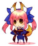 animal_ears caster_(fate/extra) chibi fate/extra fate/stay_night fate_(series) fox_ears fox_tail hair_ribbon japanese_clothes mgk968 pink_hair ribbon solo tail thigh-highs thighhighs twintails yellow_eyes zettai_ryouiki