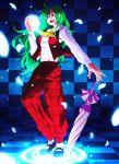 ascot checkered checkered_floor closed_umbrella green_hair kazami_yuuka kazami_yuuka_(pc-98) long_hair magic magic_circle mary_janes nagihara_rion pants petals plaid plaid_vest red_eyes shoes solo tartan touhou touhou_(pc-98) umbrella vest