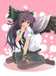 brown_hair eyes hair_bow long_hair moketa red_eyes reiuji_utsuho solo thighhighs touhou wings