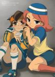 blue_eyes brown_hair endou_mamoru female hat inazuma_eleven loli male pink_hair shorts shota zaizen_touko