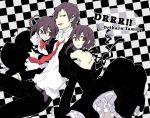 braid checkered durarara!! hirasaka_(okome13) necktie orihara_izaya orihara_kururi orihara_mairu purple_hair short_hair
