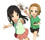 a1 akiyama_mio black_eyes black_hair brown_eyes brown_hair dirt k-on! long_hair multiple_girls open_mouth short_hair smile tainaka_ritsu young