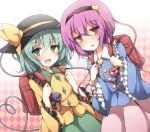 2girls argyle argyle_background backpack bag green_eyes hairband hat hat_ribbon heart heart_of_string komeiji_koishi komeiji_satori long_hair long_sleeves looking_at_viewer multiple_girls open_mouth pink_eyes pink_hair randoseru ribbon shirt short_hair siblings silver_hair sisters skirt smile taku10 third_eye touhou wide_sleeves