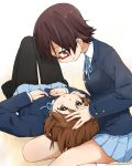 2girls brown_eyes brown_hair glasses highres hirasawa_yui k-on! kagiana lap_pillow manabe_nodoka multiple_girls pantyhose red-framed_glasses school_uniform semi-rimless_glasses short_hair under-rim_glasses