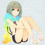 barefoot blue_eyes flower green_hair legs lips nail_polish no_bra original short_hair shorts solo suspenders toeless_socks