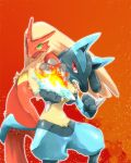 ayumu3 blaziken fighting_stance fire lucario no_humans pokemon pokemon_(creature) pose teamwork