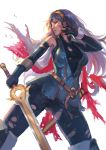 1girl armor blue_eyes blue_hair breasts cape cglas falchion_(fire_emblem) fingerless_gloves fire_emblem fire_emblem:_kakusei gloves long_hair lucina open_mouth simple_background solo sword tiara torn_clothes weapon