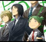 1girl black_hair bunny clover formal green_hair jumbo koiwai_yotsuba mr_koiwai necktie o_o ryou_(kimagure) suit yanda yotsubato!