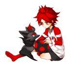 1boy inazuma_eleven kyra male nagumo_haruya pants pokemon pokemon_(creature) redhead sitting soccer_ball t-shirt uniform
