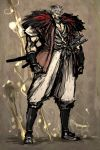 highres isurugi_raijuta male manly moto_murabito muscle rurouni_kenshin solo sword traditional_media weapon