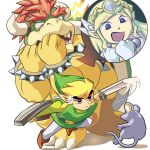 black_eyes blonde_hair bowser crossover gloves horns link masa_(bowser) mouse nintendo pointy_ears possessed princess_zelda red_hair redhead scared shield spirit_tracks super_mario_bros. super_smash_bros. sweatdrop sword the_legend_of_zelda toon_link weapon