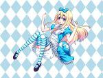 alice_(wonderland)_(cosplay) alice_in_wonderland apron beniimo_danshaku blonde_hair blue_eyes blush checkered checkered_background cosplay dress eyebrows hair_ribbon k-on! kotobuki_tsumugi legs_up long_hair open_mouth ribbon shoes skirt solo striped striped_legwear striped_thighhighs thigh-highs thighhighs