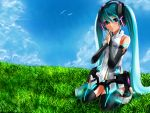 aqua_hair blue_eyes blue_sky bridal_gauntlets elbow_gloves grass hatsune_miku kneeling miku_append nail_polish sitting vocaloid vocaloid_append