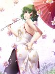 ass bare_shoulders china_dress chinese_clothes floral_print flower green_hair grin highres kazami_yuuka looking_back mochi.f oriental_umbrella pantyhose petals raised_eyebrow red_eyes short_hair smile smirk solo touhou umbrella