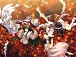animal_ears arrow autumn barefoot black_hair blush bow bow_(weapon) branch brown_eyes bunny_ears closed_eyes dress everyone fujiwara_no_mokou hair_bow hand_in_pocket hat houraisan_kaguya inaba_tewi jeweled_branch_of_hourai leaf long_hair lying multiple_girls pants purple_hair red_eyes reisen_udongein_inaba short_hair silver_hair smile studio_sdt suspenders touhou very_long_hair wallpaper weapon yagokoro_eirin yuuki_tatsuya