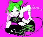 1girl birthmark butterfly dagger double_bun green_hair itsukata jojo_no_kimyou_na_bouken kuujou_jolyne solo star string tattoo weapon