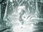 ascot bow closed_eyes dancing detached_sleeves forest glowing green hair_bow hair_tubes hakurei_reimu japanese_clothes miko muted_color nature no_nose platform_footwear river skirt skirt_set smile snowing touhou tree wallpaper water