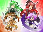 4girls bat_wings blush bow_(weapon) chibi cierra detached_sleeves fia green_eyes green_hair hairband happy hat long_hair lyuri multiple_girls orange_eyes orange_hair pink_eyes purple_eyes purple_hair red_hair riviera serene_(riviera) short_hair skirt twintails wallpaper weapon wings witch_hat zoom_layer