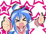 blue_hair closed_eyes izumi_konata lucky_star open_mouth solo stars thumbs_up