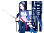 blue_eyes jewelry necklace raglan_sleeves shiina_yuu stairs sword wallpaper weapon