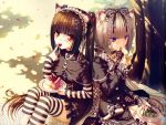 2girls animal_ears bell cake choker cross eating fork gothic gothic_lolita hair_ornament lolita_fashion long_hair nail_polish picnic plaid sayori shade sitting