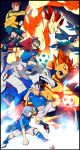 4boys cape demon endou_mamoru fubuki_shirou goggles gouenji_shuuya group inazuma_eleven jumping kick kidou_yuuto male penguins running soccer soccer_ball uniform white_hair wolf