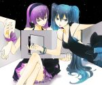 aqua_eyes aqua_hair crossed_legs dress hatsune_miku kuronomine legs_crossed long_hair megurine_luka multiple_girls nail_polish pink_hair sitting strap_slip twintails vocaloid world's_end_dancehall_(vocaloid) world's_end_dancehall_(vocaloid)
