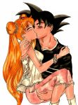 bishoujo_senshi_sailor_moon blonde_hair couple crossover dragon_ball hair hug kiss moon pink pose sailor serena son_goku tsukino_usagi z