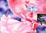bat_wings blue_hair hat petals red_eyes remilia_scarlet short_hair solo touhou traditional_media wings