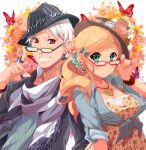 blonde_hair fashion fedora fingernails floral_print flower glasses green_eyes hair_ornament hat hungary_(hetalia) jewelry keiko_rin prussia_(hetalia) red_eyes ring scrunchie sleeves_rolled_up white_hair wristband