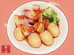 egg food food_focus hardboiled_egg highres kaneko_ryou meat no_humans original plate realistic sauce simple_background steam still_life vegetable
