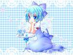 blue_hair blush bow checkered cirno flower hair_bow highres meiya_neon short_hair simple_background snow_globe touhou wings