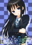 1girl akiyama_mio black_hair blue_eyes checkered checkered_background k-on! lacosoregashi long_hair ribbon school_uniform solo