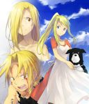 apron bad_id blonde_hair blood blue_eyes braid dog dress edward_elric fullmetal_alchemist ponytail riru spoilers winry_rockbell